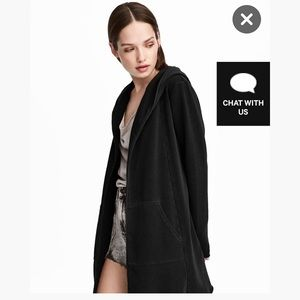 H&M Divided Long Black Hooded Cardigan, Size M